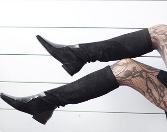 PARALLELE French vintage black suede leather tall tight fitted knee stocking boots Size 37 US 6.5