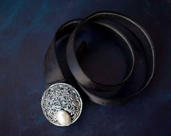 CHRISTIAN DIOR vintage black satin filigree metal monogram large pearl buckle lady's waist belt S M