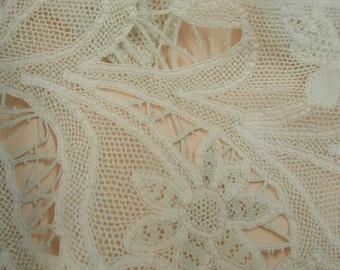 "No. 100 Antique (19th Century) Italian Milanese Handmade Lace; 2.75 Yds x 3.5"""