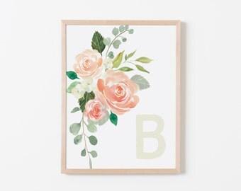 Peaches and Cream B Nursery Art. Nursery Wall Art. Nursery Prints. Girl Wall Art. Personalized Wall Art. Monogram Art. Floral Art.