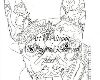 Happy Chihuahua - Love Dogs - Digital Download - Coloring Books for Adults