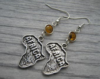 Africa Birthstone Earrings, Personalized Goegraphy Earrings, Map Earrings, Africa Gift, African Jewelry, Safari Jewelry, Swarovski Earrings