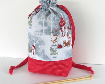 Drawstring knitting bag, Crochet project bag with Snowmen