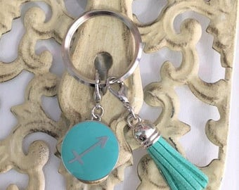 Womans key chain,  SAGITARIUS SIGN,  metal and enamel. Tassel  Free Shipping