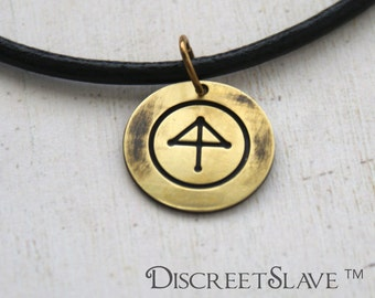 Brass gender fluid discreet slave pendant elemental style. Choose your finish. Day collar For slaves, submissives and owned persons. BDSM
