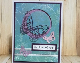Thinking of you card, sympathy card, friendship card, occasion card, handmade card, greeting card, butterfly, purple