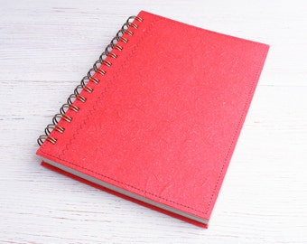 A5 Red Lined Notebook / Writing Journal / spiral bound notebook / Eco journal / Recycled diary / Personal diary