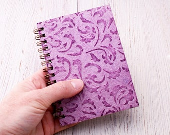 Small purple notebook spiral bound embossed paisley / mini notebook / pocket notebook / blank notebook / recycled notebook / notepad