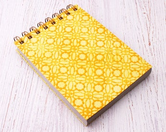 Small spiral notebook yellow embossed / recycled notebook / blank notebook / pocket notebook / yellow notebook / sketchbook / yellow notepad