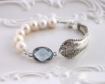 Antique Spoon Bracelet w/AQUA Quartz & PEARLS Silverware Jewelry - Sterling Magnetic Clasp - York Rose/Rose 1910 - 7.5 - 7.75 inch Wrist