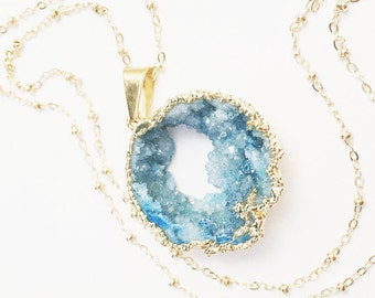 Long Aqua Druzy Necklace, Large Turquoise Natural Stone Pendant, Ocean Geode, Layering Jewelry, Beach Inspired
