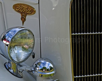 Man Cave Decor, Classic Car Silver Gold White Chrome Lights Grille Abstract, Fine Art Photography matted & signed 5x7 Original Photograph