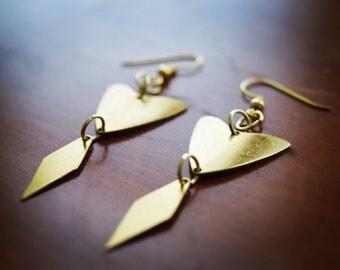 Boho brass earrings / brass triangle earrings