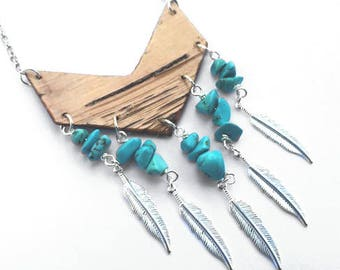 Chevron Birch Bark with Porcupine Quills Necklace - Authentic Native Made