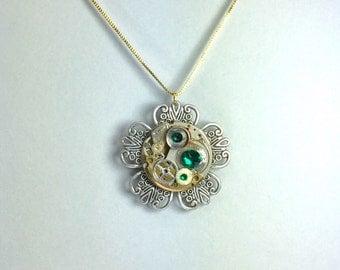 Silver Tick-Tock Flower Steampunk Necklace