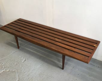 Sculpted Mid Century Slat Bench Or Coffee Table