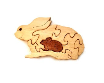 Wooden Puzzle Bunnies. Easter bunny. Kids toy. Puzzle toy.