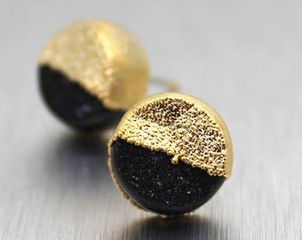 druzy stud earrings, druzy earrings, gold earrings, gold stud earrings, gifts for her, electroformed jewelry