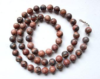 1980s Very long jasper necklace  leopard skin jasper Pink and Black  semi precious stones  Beads: 12.30 mm