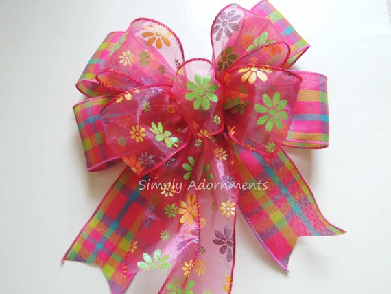 Pink Plaid Wreath Bow Pink Spring Door Hanger decor Bow Pink Plaid Daisy Wired Ribbon Wreath Bow Pink Spring Floral Birthday Party Decor Bo