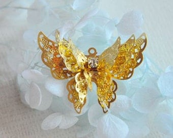 5 pcs raw Brass plated gold   butterfly    Filigree pendant  Finding
