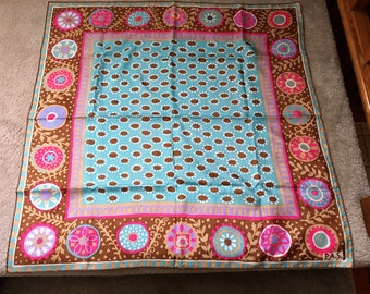Silk scarf, pastel floral.
