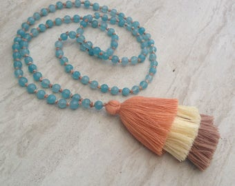 Layered Tassel Necklace Agate Tassel Necklace Hand Knotted Beaded Tassel Necklace Statement Necklace Long Tassel Stack Necklace