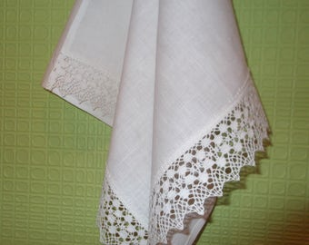 Organic washed white linen dish towel  hand towel kitchen towel picnic towel pure linen table runner with linen lace