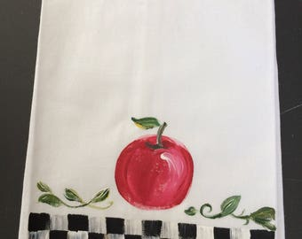 Hand Painted Guest Towel/ Red Apple