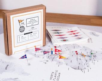 World Flags Sticker Set - ALL Countries 198 flags + 198 Head Pins