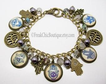 Hamsa Hand Evil Eye  Bracelet,Boho,  Hamsa Bracelet, Bohemian, Evil Eye Bracelet, Charm Bracelet