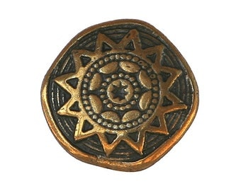 6 Sun Star 9/16 inch ( 14 mm ) Metal Buttons Antique Brass Color