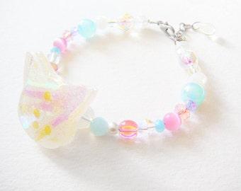 Mahou Shoujo: Holographic Magical girl/Magical Boy Sweet Sugar kitty and crystal beaded bracelet