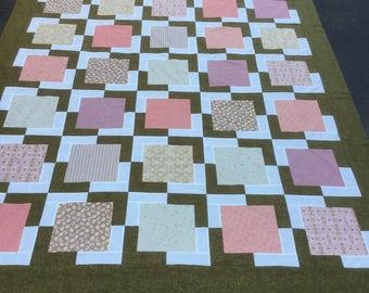 Rose Quartz Quilt top, unfinished quilt top