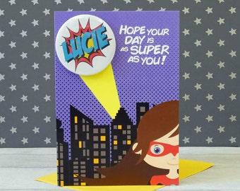 Personalised Superhero Birthday Card - Superhero Card - Girls Birthday Card - Personalised Card - Geeky Card - Super Hero Card -Personalised