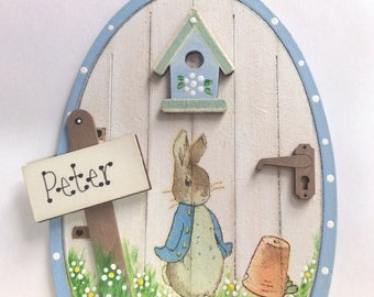 Handpainted & Decoupaged Beatrix Potter Peter Rabbit  Fairy Door Skirting Board Decor Tooth Fairy Christening Gift