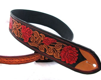 Handmade Leather Red Rose Guitar Strap