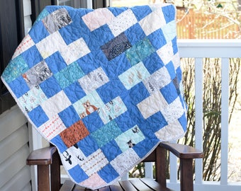 Crib Quilt- Ready to ship, baby boy quilt, baby boy crib bedding, Hello Dear baby quilt, Blue baby quilt, Deer quilt, Fox quilt, bear quilt