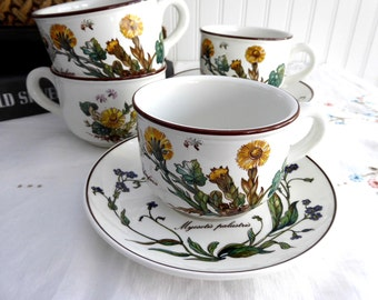 4 Villeroy & Boch Botanica Cups And Saucers Botanical Names Stoneware Shades Set 4 1980s