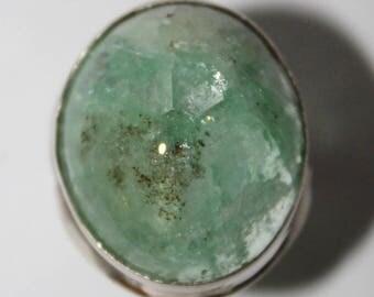 Russian Emerald Ring, Rare Genuine Green Beryl Ring,  7 size ring  FREE SHIPPING