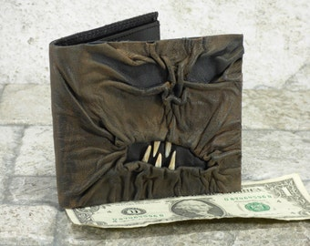 Leather Wallet Necronomicon Evil Dead Goth Black Brown Zombie Monster Face Horror Gamer Fantasy Billfold