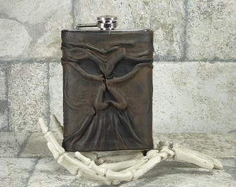 Necronomicon Flask Brown Black Leather 8 Ounce Day Of The Dead H P Lovecraft Goth Horror Groomsman Gift One Of A Kind