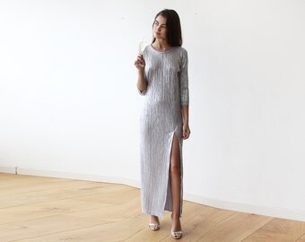 Silver Glamorous long sleeves pleated maxi dress, Silver maxi gown with sleeves, Glamorous party dress 1123