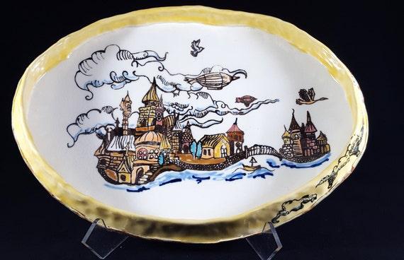 "Fairytale Oval Porcelain Plate with high rim 11"""