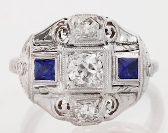 Antique Ring - Antique Art Deco 18k White Gold Conversion Diamond and Sapphire Ring