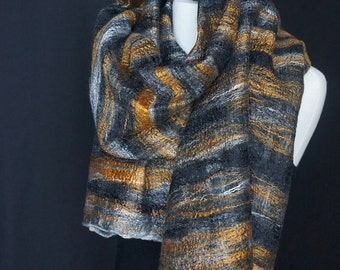 Stunning Bronze Bamboo. Silk. Black & White Merino Wool.