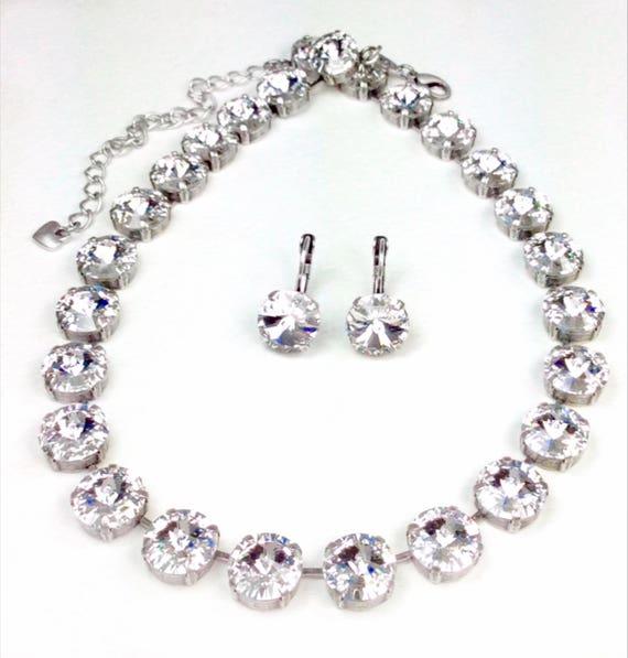 Swarovski Crystal 12MM 3 Piece Set - Necklace, Bracelet & Earring - Designer Inspired - ANY Swarovski Color or Finish Listed - FREE SHIPPING