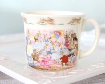Vintage, Happy Birthday from Bunnykins Mug by Royal Doulton, English Fine Bone China, Little Princess Birthday Gift Inspiration - 1988