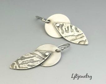 Sterling Silver Earrings, Silver Dangle Earrings, Silver Drop Earrings, Metalsmith, Metalwork, Handmade, Artisan Jewelry
