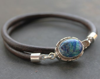Mens Bracelet of Azurite, sterling silver and Leather - mens gift, masculine jewelry trendy wristware, mens leather bracelet, blue aqua